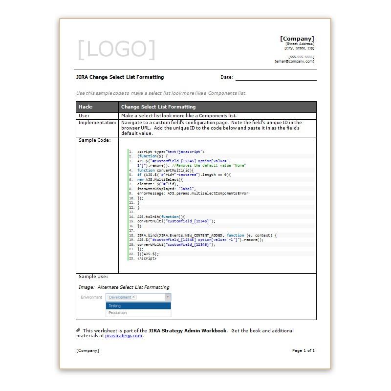 JIRA Change Select List Formatting - Strategy for JIRA