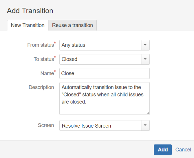 Add Transition Screen
