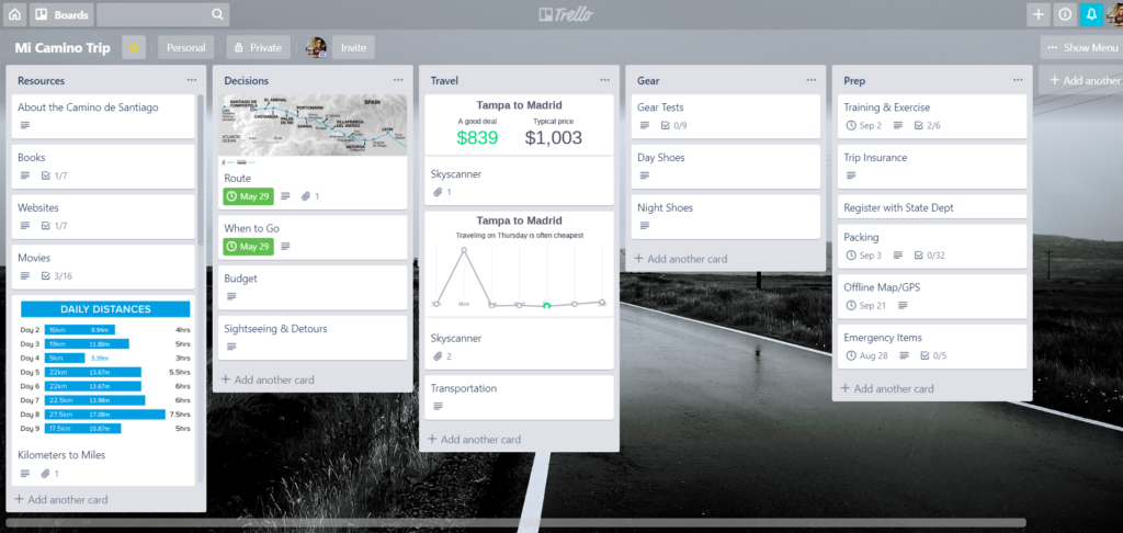 Trello board with planning cards