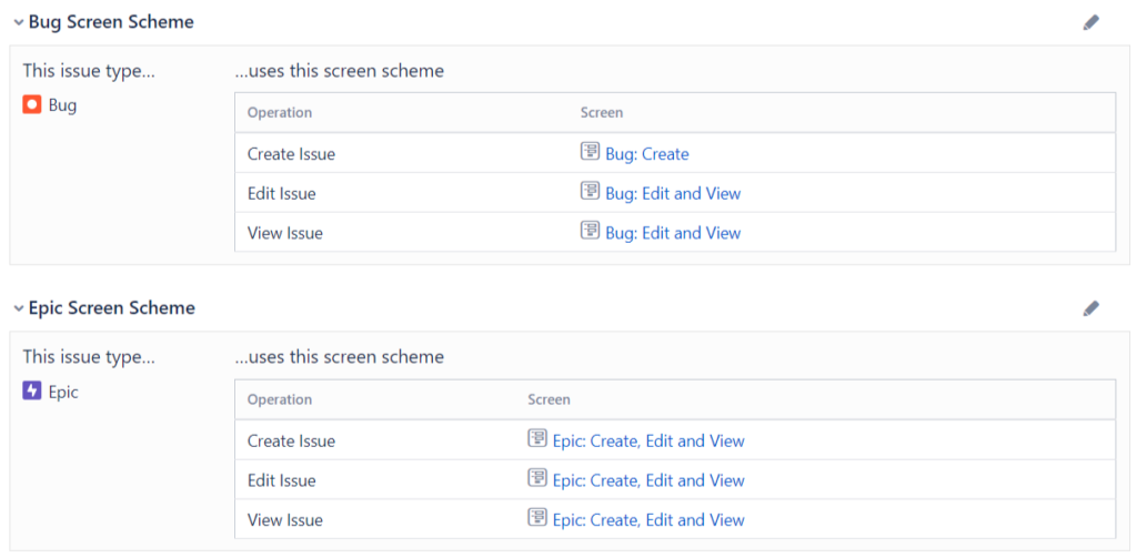 Jira issue type screen scheme
